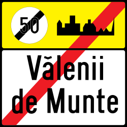 Traffic sign of Romania: End of the built-up area