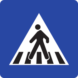Traffic sign of Romania: Crossing for pedestrians