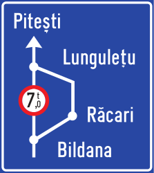Traffic sign of Romania: Detour for vehicles that are not allowed to pass.