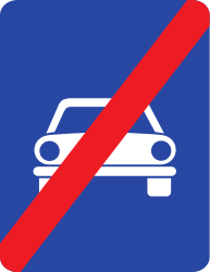 Traffic sign of Romania: End of the expressway