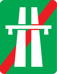 Traffic sign of Romania: End of the motorway