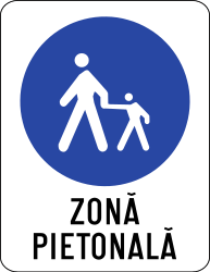 Traffic sign of Romania: Begin of a zone for pedestrians
