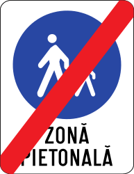 Traffic sign of Romania: End of the zone for pedestrians