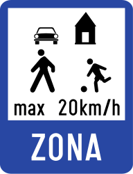 Traffic sign of Romania: Begin of a residential area