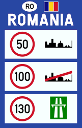 Traffic sign of Romania: National speed limits