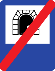 Traffic sign of Romania: End of the tunnel