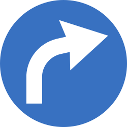 Traffic sign of Romania: Turning right mandatory