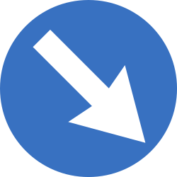 Traffic sign of Romania: Passing right mandatory