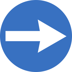 Traffic sign of Romania: Mandatory right