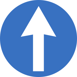 Traffic sign of Romania: Driving straight ahead mandatory