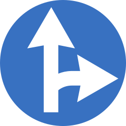 Traffic sign of Romania: Driving straight ahead or turning right mandatory