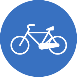 Traffic sign of Romania: Mandatory path for cyclists