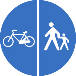 Traffic sign of Romania: Mandatory divided path for pedestrians and cyclists