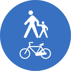 Traffic sign of Romania: Mandatory shared path for pedestrians and cyclists