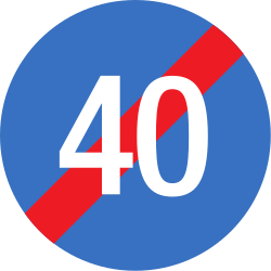 Traffic sign of Romania: End of the minimum speed