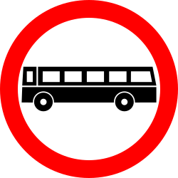 Traffic sign of Romania: Buses prohibited