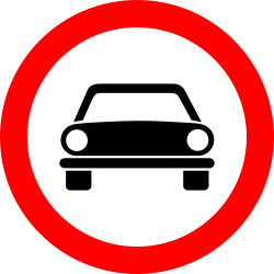 Traffic sign of Romania: Cars prohibited