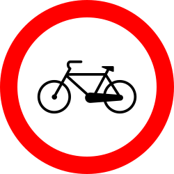 Traffic sign of Romania: Cyclists prohibited
