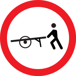 Traffic sign of Romania: Handcarts prohibited
