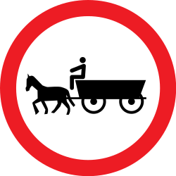 Traffic sign of Romania: Horse carts prohibited