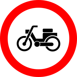 Traffic sign of Romania: Mopeds prohibited