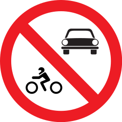 Traffic sign of Romania: Motorcycles and cars prohibited