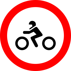 Traffic sign of Romania: Motorcycles prohibited
