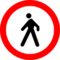 Traffic sign of Romania: Pedestrians prohibited