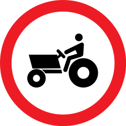 Traffic sign of Romania: Tractors prohibited