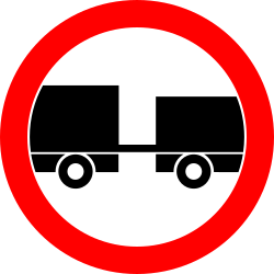 Traffic sign of Romania: Trucks with trailer prohibited