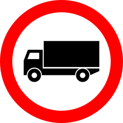 Traffic sign of Romania: Trucks prohibited