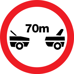 Traffic sign of Romania: Leaving less distance than indicated prohibited