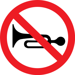 Traffic sign of Romania: Using the horn prohibited