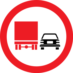 Traffic sign of Romania: Overtaking prohibited for trucks