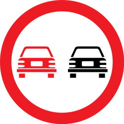 Traffic sign of Romania: Overtaking prohibited