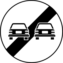 Traffic sign of Romania: End of the overtaking prohibition
