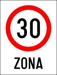 Traffic sign of Romania: Begin of a zone with speed limit
