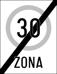 Traffic sign of Romania: End of the zone with speed limit
