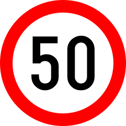 Traffic sign of Romania: Driving faster than indicated prohibited (speed limit)