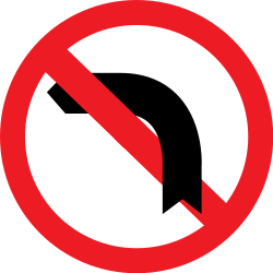 Traffic sign of Romania: Turning left prohibited