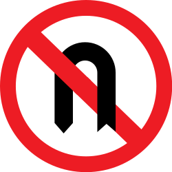 Traffic sign of Romania: Turning around prohibited (U-turn)