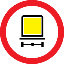 Traffic sign of Romania: Vehicles with dangerous goods prohibited