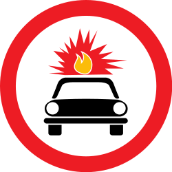 Traffic sign of Romania: Vehicles with explosive materials prohibited
