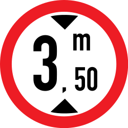 Traffic sign of Romania: Vehicles higher than indicated prohibited
