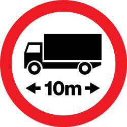 Traffic sign of Romania: Vehicles longer than indicated prohibited