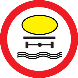 Traffic sign of Romania: Vehicles with polluted fluids prohibited
