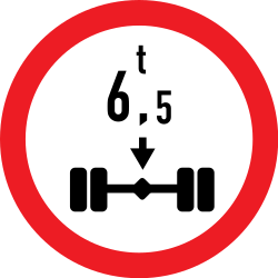 Traffic sign of Romania: Vehicles with an axle weight heavier than indicated prohibited