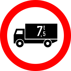 Traffic sign of Romania: Trucks heavier than indicated prohibited