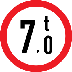 Traffic sign of Romania: Vehicles heavier than indicated prohibited