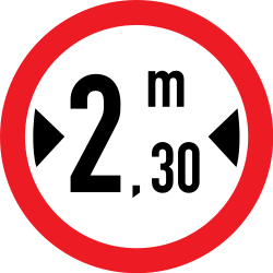 Traffic sign of Romania: Vehicles wider than indicated prohibited